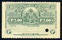 Image of a Droit de Transmission revenue stamp from 1906